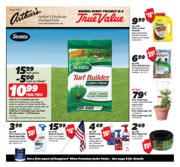 Arthur's True Value Hardware Store in Orchard Park - May 2014 Circular